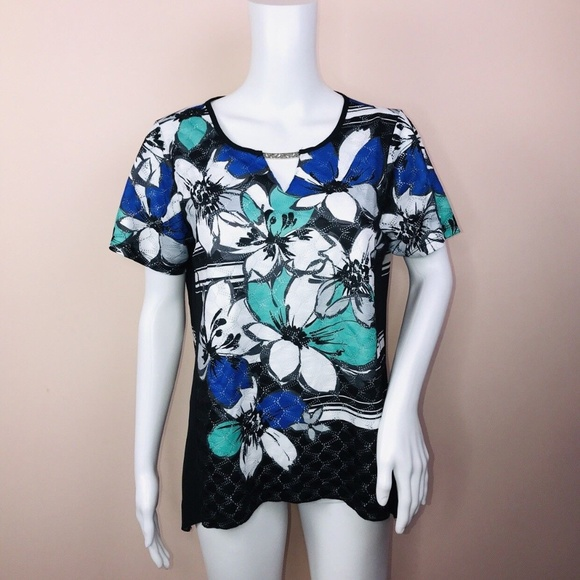 658d94a941 Alfred Dunner PS Top NEW Short Sleeve Floral